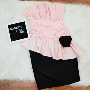 Vtg Pretty In Pink Strapless Cocktail Dress Size 7